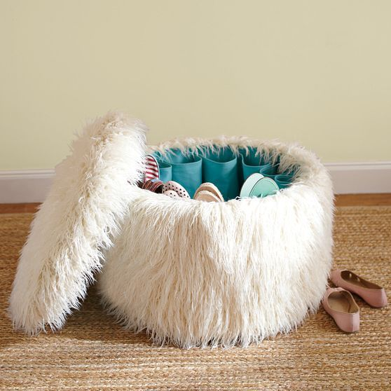 Hidden Shoe Storage In This Fun Fuzzy Ottoman Great For