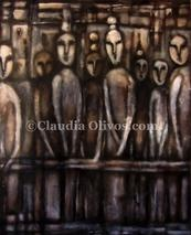 Mapuche-Paintings-on-CanvasMapuche-Paintings-on-Canvas by Claudia Olivos.  Oil paint on collage on canvas... our Ancestors.  Much of the Mapuche work on wood for ancestors is like that of Chile's Easter Island... wonder and wander about... the internet finding out about them and you may find meanings and messages that are well... from worlds beyond....