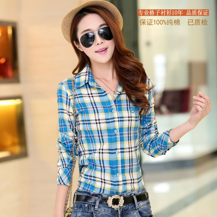 10 Colors M-XXL Lady Blouses Shirt Casual Women Plaid Shirt Cotton Autumn Spring Long Sleeve Blouses ** AliExpress Affiliate's buyable pin. Find out more on www.aliexpress.com by clicking the VISIT button