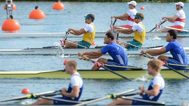 David Crawshay and Scott Brennan of Australia compete in the first heat of the men's Double Sculls at Eton Dorney on 29 July.: Olympics Photos, 2012 Photos