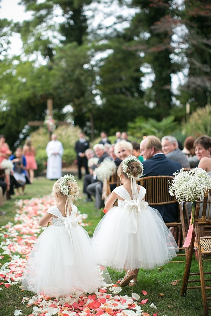 #FlowerGirls #BabysBreath | Little Puffs of Tulle! Photography: Jen + Ashley | See the wedding on SMP - http://www.stylemepretty.com/virginia-weddings/2014/01/14/elegant-backyard-wedding-in-newport-news/: