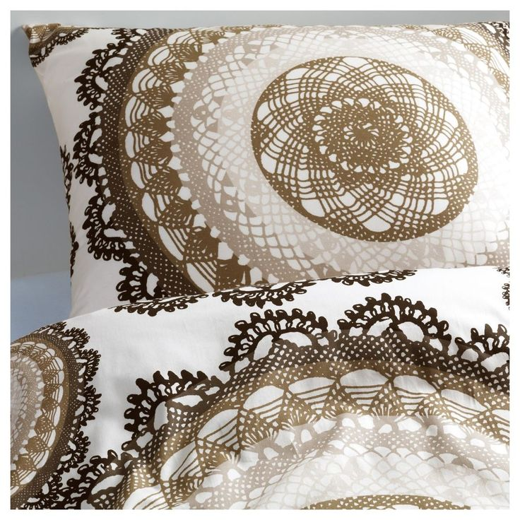 Ikea Lyckoax Twin Single Duvet Quilt Cover 2pc Set Modern Lace Medallion Brown  #IKEA #Modern