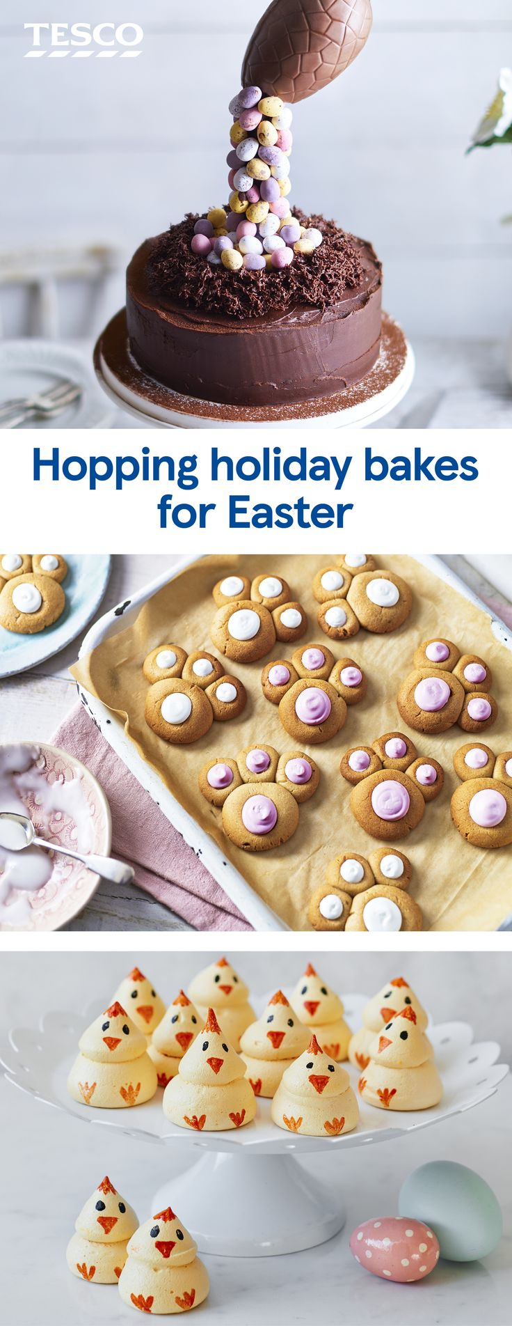 Get your bake on this Easter with these fun cakes and bakes that are perfect for the long weekend. From bunny biscuits to gravity-defying cakes, meringues, choux buns and more, you'll definitely be star baker. | Tesco