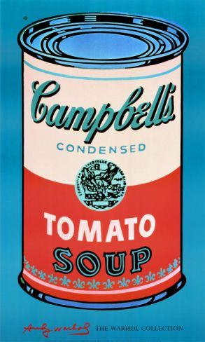 "$50 - 24"" x 40"" - Campbell's Soup Can, 1965 (Pink and Red) Print by Andy Warhol at Art.com"