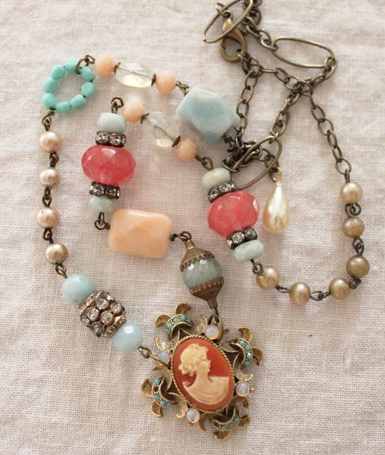 Coral Cameo Necklace by Andrea Singarella. Just Beautiful!! Love all of her creations.