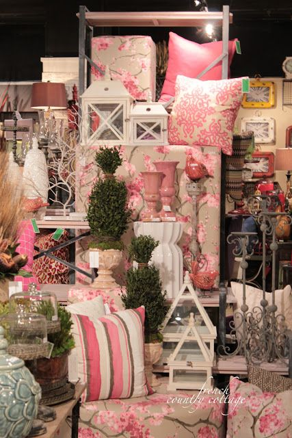 How can you not like pink? FRENCH COUNTRY COTTAGE: High Point Market- Part Two idea..fabric covered objects