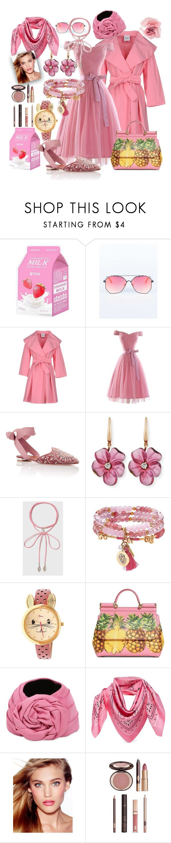 """""""pinky pie"""" by caroline-buster-brown ❤ liked on Polyvore featuring Charlotte Russe, Moschino Cheap & Chic, Aquazzura, Rina Limor, Dorothy Perkins, Lonna & Lilly, Boum, Dolce&Gabbana, Gucci and MCM"""