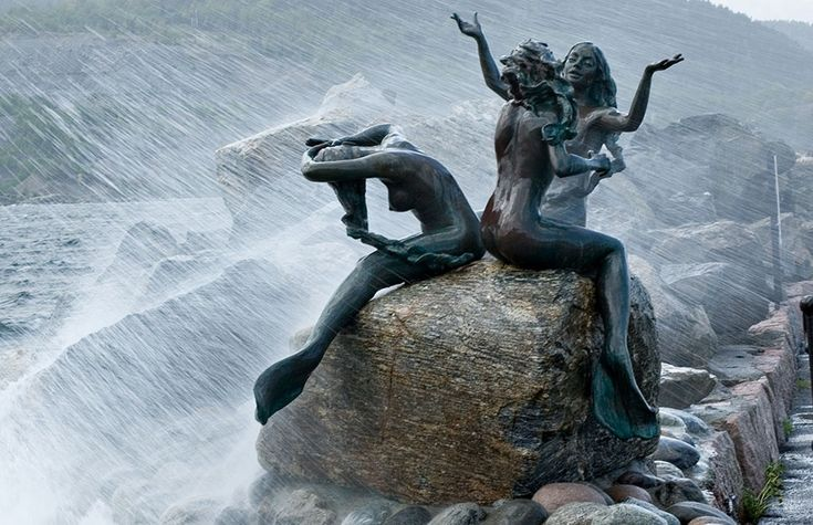 Idyll (The Three Mermaids in storm) in the Seaside Resort and Santa Town Drøbak in Oslo Fjord, Norway. - From THE ESSENCE OF THE GOOD LIFE™ http://www.pinterest.com/ConceptDesigner/ https://www.facebook.com/pages/The-Essence-of-the-Good-Life/367136923392157