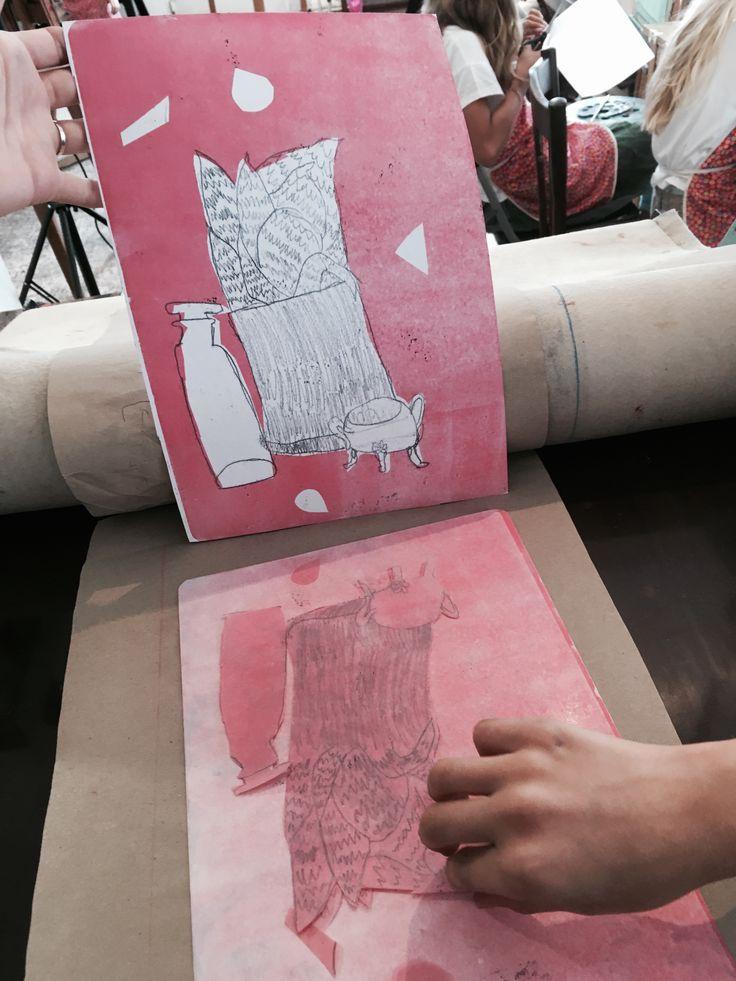 Printmaking class for kids, Fall 2016