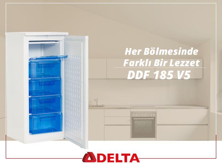 Delta DDF 185 V5 derin dondurucular 5 çekmecesi sayesinde her çekmecede farklı lezzetler saklar. #Delta #DeltaSogutma