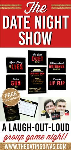 Free printables for hosting The Date Night Show - a group game night! www.TheDatingDivas.com