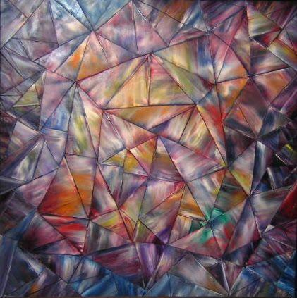 "TIFFANY'S WINDOW #2 Original Oil Painting 36""x36"" by John R Jurisich"