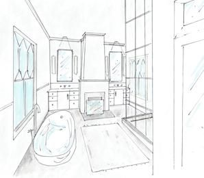 Historic Bath Plan Including Fireplace, Glass Shower With Window Mullions,  Freestanding Tub And Double