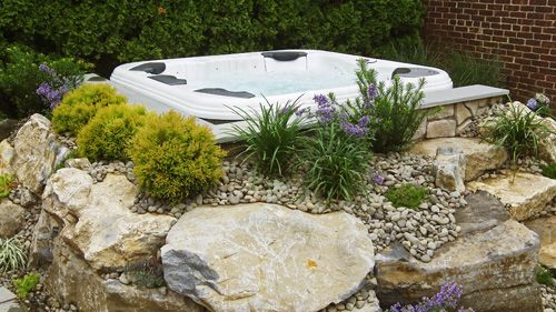 17 best images about spa ideas on pinterest logos for Garden pool surrounds
