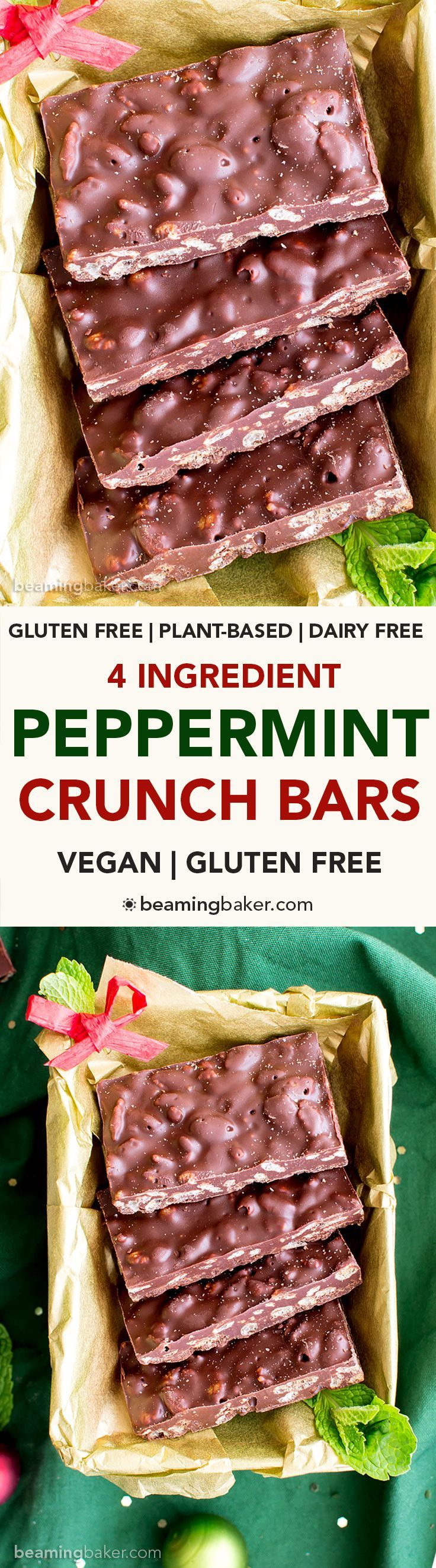 4 Ingredient Peppermint Chocolate Crunch Bars (Gluten Free, Vegan, Dairy-Free): a one bowl, 4-ingredient recipe for crispy, cool mint crunch bars perfect for the holidays! #Vegan #GlutenFree #DairyFree | BeamingBaker.com