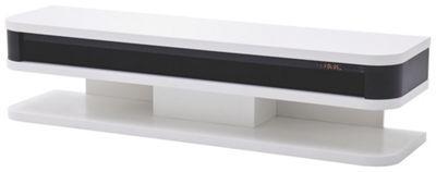 <div>Dieses <b>TV-Board</b> in Schwarz und Weiß ist der moderne Mittelpunkt Ihres Wohnzimmers. Auf einer Breite von ca. 151 cm steht Ihr Fernseher im Mittelpunkt - beste Voraussetzungen also für gemütliche Heimkino-Abende mit den neuesten Blockbustern.</div><div><br></div><div>Der Clou: Was sich als schwarzer Zierstreifen tarnt, ist in Wahrheit ein integriertes <b>Soundsystem</b>. Die passende Infrarot-Fernbedienung erhalten Sie gleich mit. So genießen Sie Ihren Lieblingsfilm mit einer…