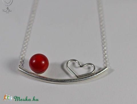 Happy Collection! Piros korall  és szív lánc és fülbevaló (aKatArt) - Meska.hu