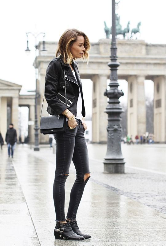 #AnineBing keeping it cruisy in Paris in black biker jacket and ripped jeams. #streetstyle #fashion
