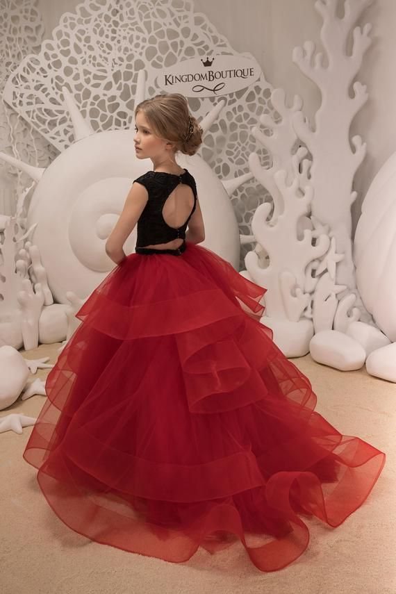 Black And Red Flower Girl Dress Birthday Wedding Party