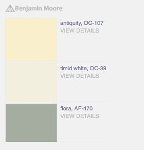 "Soothing palette with ""Antiquity"" pale yellow gold, ""Timid White"" light neutral, & ""Flora"" gray slate blue paint colors from Benjamin Moore."