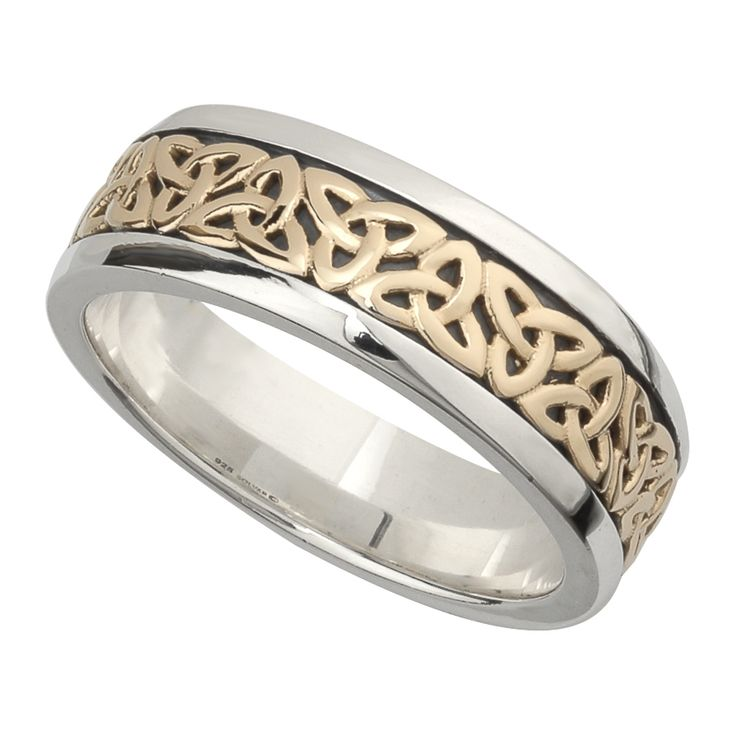 wedding band 10k gold and sterling silver mens