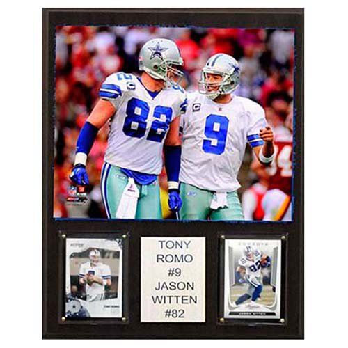 C and I Collectables NFL 15W x 12H in. Tony Romo & Jason Witten Dallas Cowboys Player Plaque - 1215ROMOWITCOM
