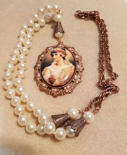 NK2671 Goddess Cameo on Vintage Brass, Vintage Japanese Pearls