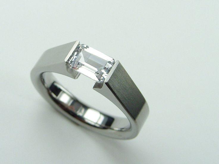 Titanium Inset Gem Ring