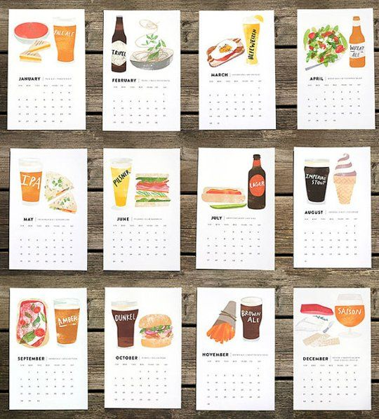 12 Beautiful Food Calendars for 2014