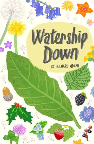 Watership Down cover design #book #bookcover #design #cover  by Kitt Byrne #illustration #illustrated #floral #rabbit #flora #flowery #nature #leaves #seasons #kitsch #retro