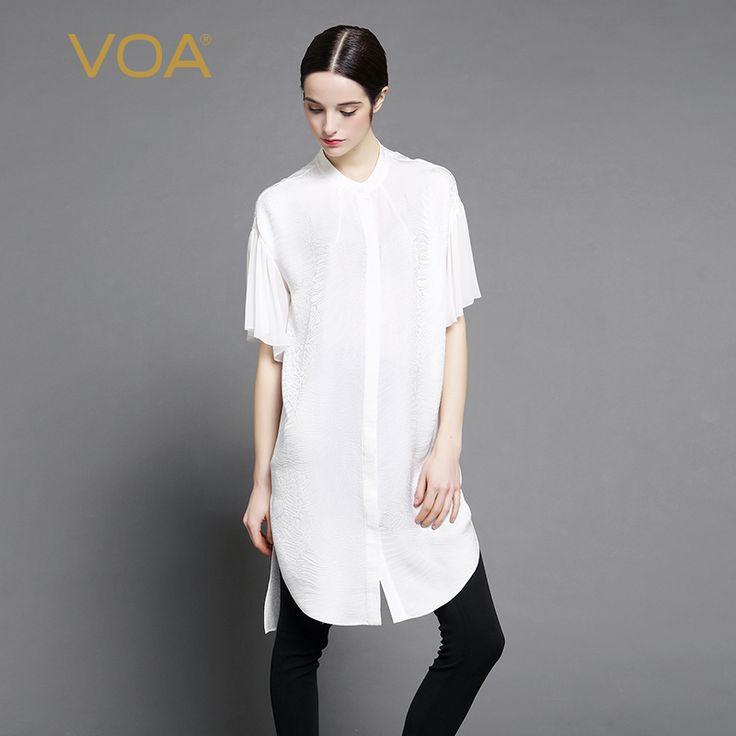 Encontrar Más Blusas y Camisas Información acerca de VOA jacquard blanco caída del hombro media manga recta de seda blusa larga dividida camisa de Europa femenino B7016, alta calidad blusa larga de la mujer, China dividir blusa Proveedores, barato camisa de las mujeres de VOA Flagship Shop en Aliexpress.com