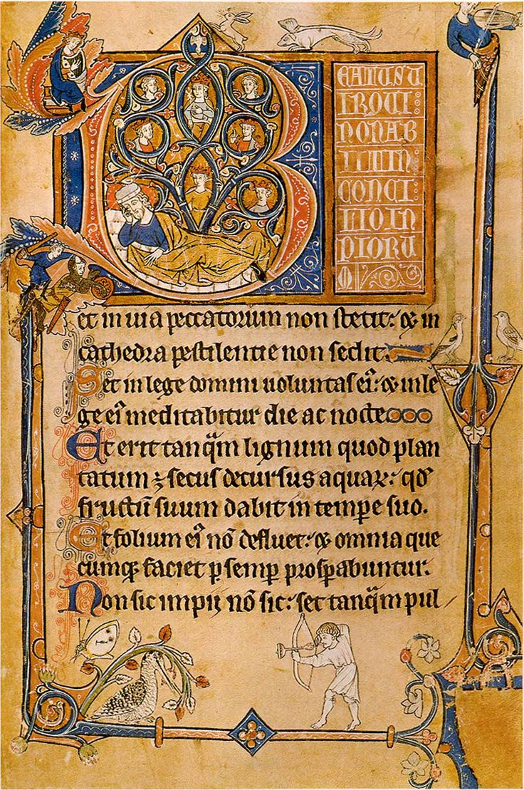 Known as 'The Bird Psalter', this psalter includes the names of several West Country saints and was probably associated with Winchcombe or Gloucester. It takes its name from the fact that it depicts some 27 species of bird.
