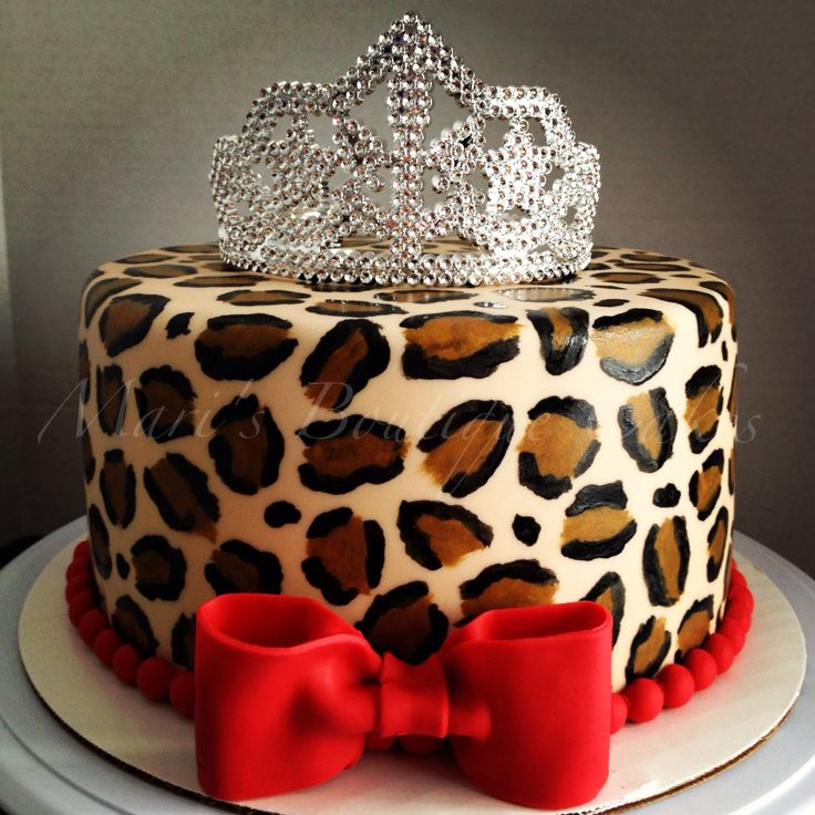 Leopard Print Cake for a Little Diva - by Mari's Boutique Cakes