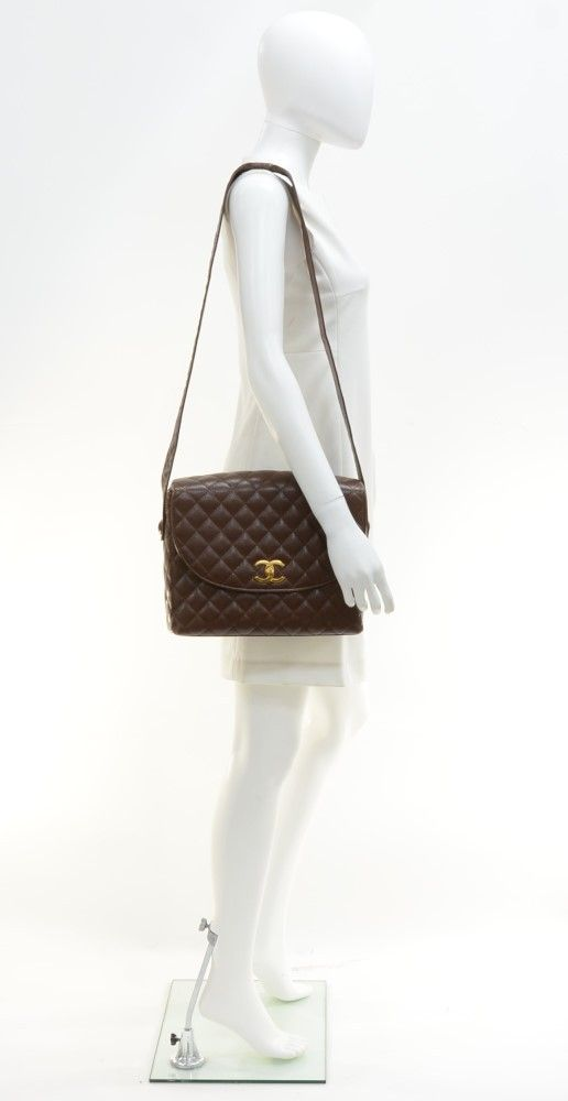 Chanel Vintage Chanel Dark Brown Quilted Caviar Leather Shoulder Flap . 53e99e52796d5