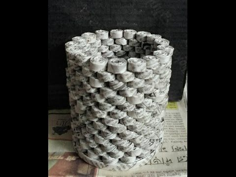 How to make a newspaper pen stand - YouTube