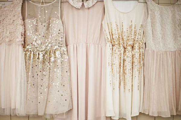 gold(sub. Silver) + blush bridesmaid dresses   Genevieve Renee Photographie #wedding