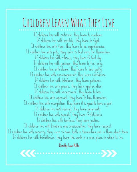 """""""Children Learn What They Live"""" Free Printable"""