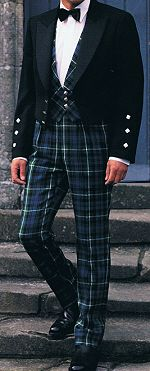 Trews (from the Gaelic truibhas) differ from trousers in that they're designed for evening wear in place of a kilt. The style is military and the Argyll trews have a  high 3 inch (7.6cm) waistband, with 3 inch wide belt loops for a kilt belt. Trews offer an extremely smart alternative to the kilt and are usually worn with a short jacket such as the Prince Charlie.
