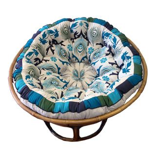 Celebration Papasan Blue Peacock Cushion