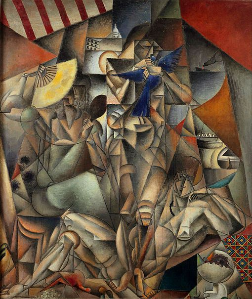 The Blue Bird and Der Blaue Vogel  ArtistJean Metzinger Year1912-13 TypeOil on canvas Dimensions230 cm × 196 cm (90.5 in × 77.2 in) LocationMusée d'Art Moderne de la Ville de Paris . The work represents three nude women in a scene that contains a wide variety of components
