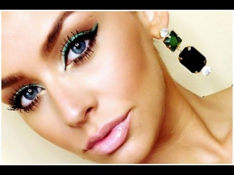 A perfect green makeup look with pink lipstick for those of you who will be wearing a green dress for prom