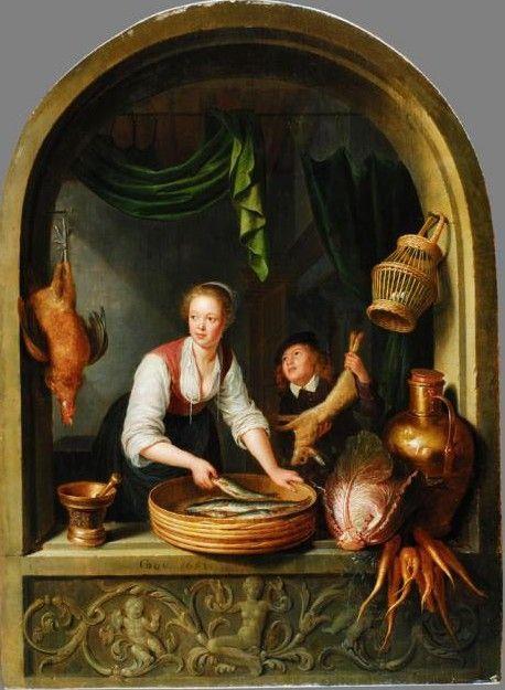 Gerard Dou: Keukenmeid met jongen in een raam. 1652. Staatliche Kunsthalle, Karlsruhe. Een glimlachende keukenmeid met opgerolde mouwen is met vis bezig. Een jongetje biedt haar een haas aan met vragende ogen. De hangende vogel, de vissen in de mand en de groenten hadden voor de 17e-eeuwse kijker een erotische betekenis en verwezen naar geslachtsdelen en naar het liefdesspel. Het voedsel en het fries waarop Venus en putti, geven aan dat de keukenmeid een vrouw van losse zeden is.