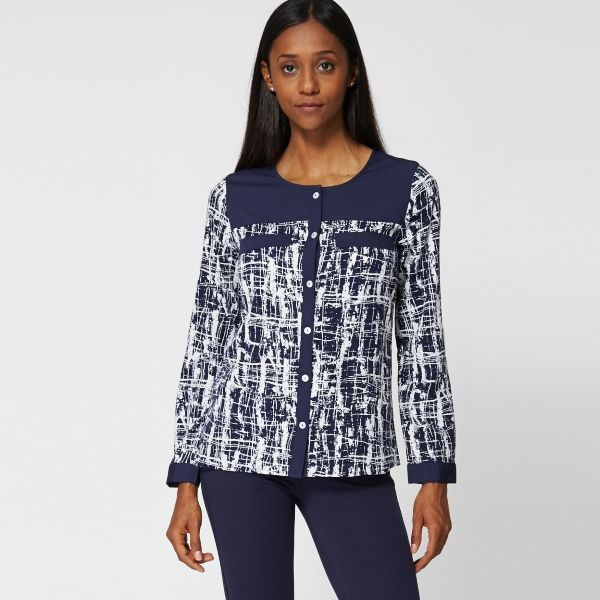 Blå och vit abstrakt blus - Ex-Branded
