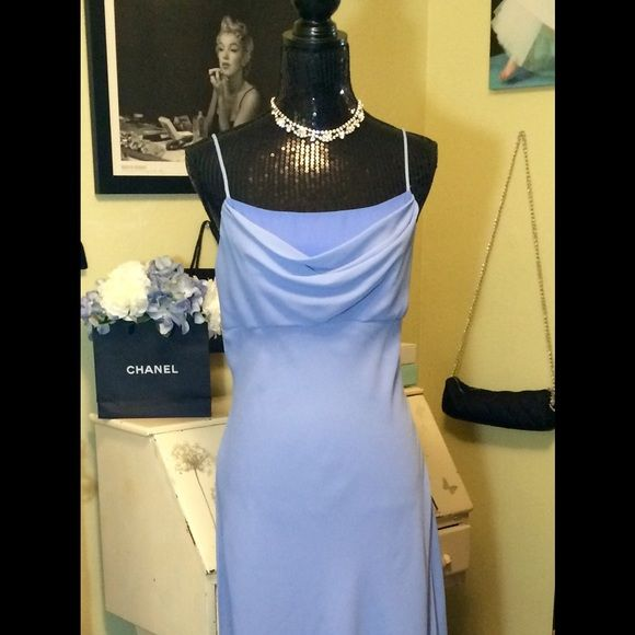 Reduced Prom Formal Evening Gown Lovely figure flattering draped neckline. Beautiful layers of flowing blue weightless fabric and delicate spaghetti straps. It's Cinderella modern day! Has hidden side zipper in easy to care for fabric! Fully lined! Beautiful and comfortable floor length. Freshly cleaned wrapped and ready for your event! Accessories not for sale. Goes great with the blue necklace and earring set I have available! Dresses Prom