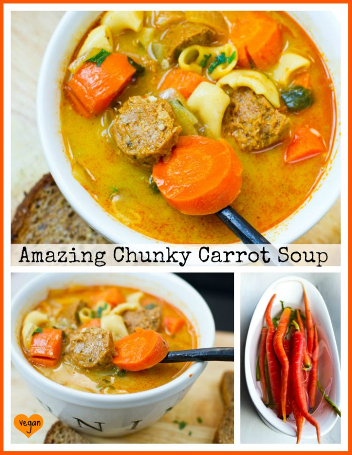 Amazing Chunky Carrot Soup. Easy to make this for my meat loving Man...just a few changes