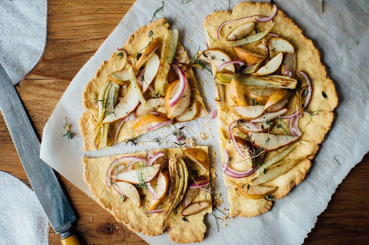 Chickpea Flatbread with Caramelized Fennel, Pear, and Red Onion
