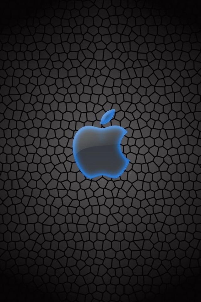 Blue Outlined Apple Symbol Sfondi