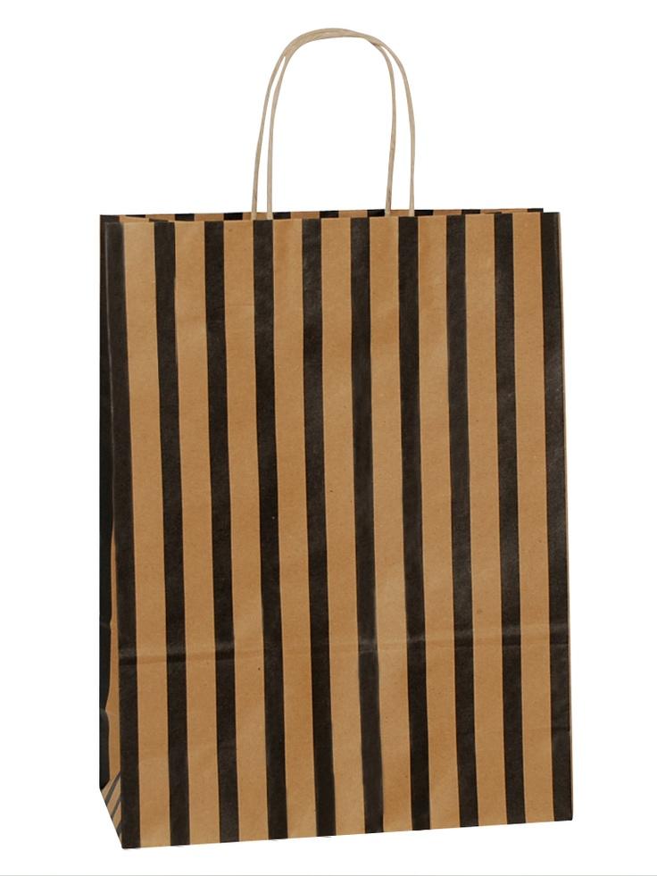 Brown Carrier Bag Twisted Handle - Stripes Black