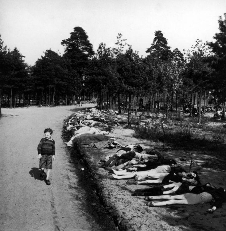 Nacistické koncentrační tábory - malý německý chlapeček jde kolem hromady mrtvol obětí z KL Bergen-Belsen. Německo 1945, po osvobození.