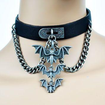 Three Hanging Vampire Bats on Chain Pleather Choker Gothic Collar
